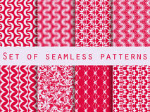 Set of seamless patterns with geometric shapes. The pattern for wallpaper, tiles, fabrics and designs. Royalty Free Stock Images