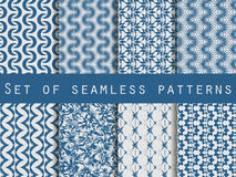 Set of seamless patterns with geometric shapes. The pattern for wallpaper, tiles, fabrics and designs. Royalty Free Stock Photography
