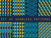 Set of seamless patterns with geometric shapes. The pattern for wallpaper, tiles, fabrics and designs. Stock Photos