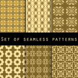 Set of seamless patterns with geometric shapes. The pattern for wallpaper, tiles, fabrics and designs. Stock Image