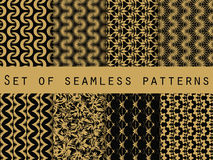 Set of seamless patterns with geometric shapes. The pattern for wallpaper, tiles, fabrics and designs. Royalty Free Stock Photos