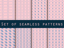 Set of seamless patterns with geometric shapes. Rose quartz and serenity violet colors. Vector illustration Royalty Free Stock Photography
