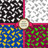 Set of seamless patterns with ghosts and bats Stock Images