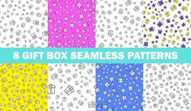 Set of seamless patterns with gift boxes . Vector set of 8 abstract seamless patterns with gift boxes . Outline style. Set of seamless patterns with gift boxes stock illustration