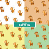 Set of seamless patterns with a giraffe Stock Photos