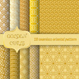 Set of 10 seamless patterns with golden curls. Unusual ornament in east style for design of packing paper, fabric, wallpaper, web. Page backgrounds. Vector Royalty Free Stock Images