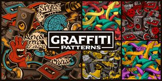 Set of seamless patterns with graffiti art. Fashion backgrounds with doodle characters royalty free illustration