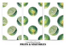 Set of seamless patterns with green limes drawn by hand with colored pencil Royalty Free Stock Photography