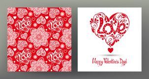 Set of seamless patterns and greeting cards for Valentine`s Day Stock Image