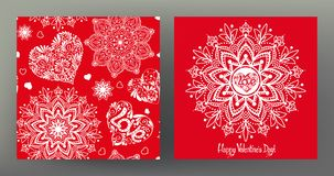 Set of seamless patterns and greeting cards for Valentine`s Day Royalty Free Stock Photos