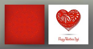Set of seamless patterns and greeting cards for Valentine`s Day Royalty Free Stock Photography