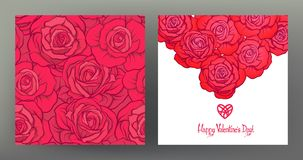 Set of seamless patterns and greeting cards for Valentine`s Day Stock Images