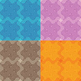Set of seamless patterns of grid with abstract waves. Royalty Free Stock Image