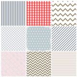 Set of seamless patterns and a grunge frame Stock Photos
