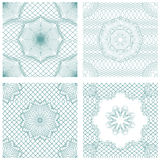 Set of seamless patterns - Guilloche ornamental Elements Stock Photo