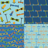 Set of seamless patterns with gyroscope and scooter icons Royalty Free Stock Photography
