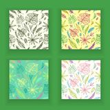 Set Seamless patterns from   hand draw structure of  tropic leaves colorful in line art. Set Seamless patterns from hand draw structure of tropic leaves colorful Stock Photography