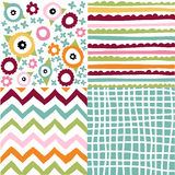 Set of seamless patterns. Hand drawn set of seamless patterns Stock Photos