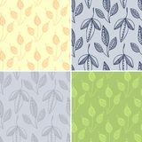 Set of seamless patterns. With hand drawn leaves vector illustration