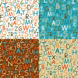 Set of seamless patterns of hand drawn letters Stock Images