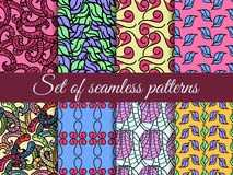 Set of seamless patterns hand drawn, seamless backgrounds, hand-drawn doodles seamless pattern. Stock Image
