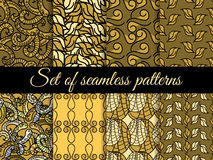 Set of seamless patterns hand drawn, seamless backgrounds, hand-drawn doodles seamless pattern. Vector Stock Photos