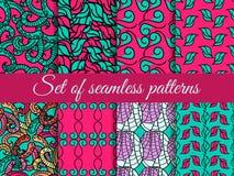 Set of seamless patterns hand drawn, seamless backgrounds, hand-drawn doodles seamless pattern. Vector Stock Photo