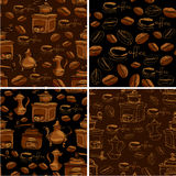 Set of 4 seamless patterns with handdrawn coffee cups, beans, gr Royalty Free Stock Photos