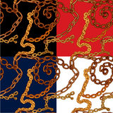 Set of seamless patterns with handdrawn Gold chains. On black, red, blue and white backgrounds vector illustration