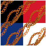 Set of seamless patterns with handdrawn Gold chains. On black, red, blue and white backgrounds Royalty Free Stock Photo