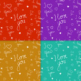 Set of seamless patterns with handwriten text Royalty Free Stock Photography