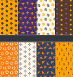 Set Seamless Patterns for Happy Halloween Stock Images