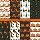 Set seamless patterns Happy New Year royalty free illustration