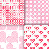 Set of seamless patterns with hearts. Classical stylish texture with regularly repeating geometrical shapes, hearts. Vector element of graphic design Stock Photography