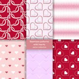 Set of seamless patterns with hearts. Classical stylish texture with regularly repeating geometrical shapes, hearts. Vector element of graphic design Stock Photo