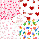 Set of 4 seamless patterns with hearts. Cute love theme backgrounds can be copied without any seams. Vector illustration Royalty Free Stock Images