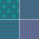 Set seamless patterns with hearts and flowers Stock Image