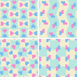 Set of seamless patterns with hearts. Royalty Free Stock Images