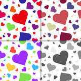 Set of seamless patterns with hearts Royalty Free Stock Photography