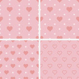Set of seamless patterns with hearts,  illustration Stock Photo