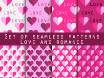 Set of seamless patterns with hearts. The inscription letters. F. Set of seamless patterns with hearts. Abstract vector backgrounds Stock Photo