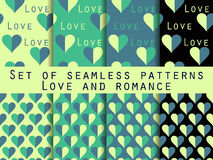 Set of seamless patterns with hearts. The inscription letters. Set of seamless patterns with hearts. Festive pattern for wrapping paper, wallpaper, tiles Royalty Free Stock Images