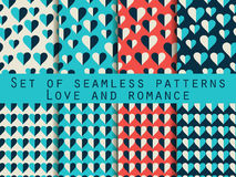 Set of seamless patterns with hearts. The inscription letters.. Festive pattern for wrapping paper, wallpaper, tiles, fabrics, backgrounds. Vector Stock Photo