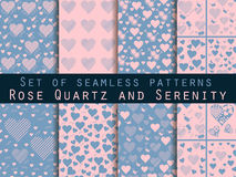 Set of seamless patterns with hearts. Love patterns. Rose quartz and serenity violet colors Royalty Free Stock Image