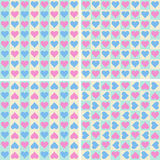 Set of seamless patterns with hearts. Stock Photos