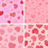 Set of seamless patterns with hearts. Vector illustration Royalty Free Stock Photography