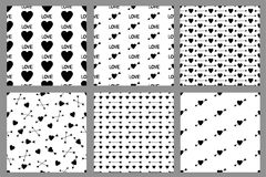 Set of the seamless patterns with hearts. Vector illustration Stock Photography