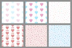 Set of the seamless patterns with hearts. Vector illustration Royalty Free Stock Images