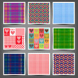 Set seamless patterns of hearts and squares Stock Photography