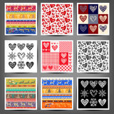 Set seamless patterns of hearts and squares Stock Photos